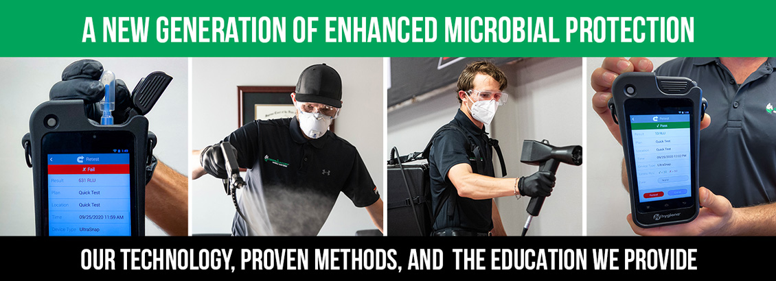 Our Patent-Pending Process Showing how We Test For ATP on Surface Before & After Service and Technicians Spraying Disinfecting Solutions. Top Banner CaptionReads:'A New Generation of Enhanced Microbial Protection. Bottom Caption Reads: Our Technology